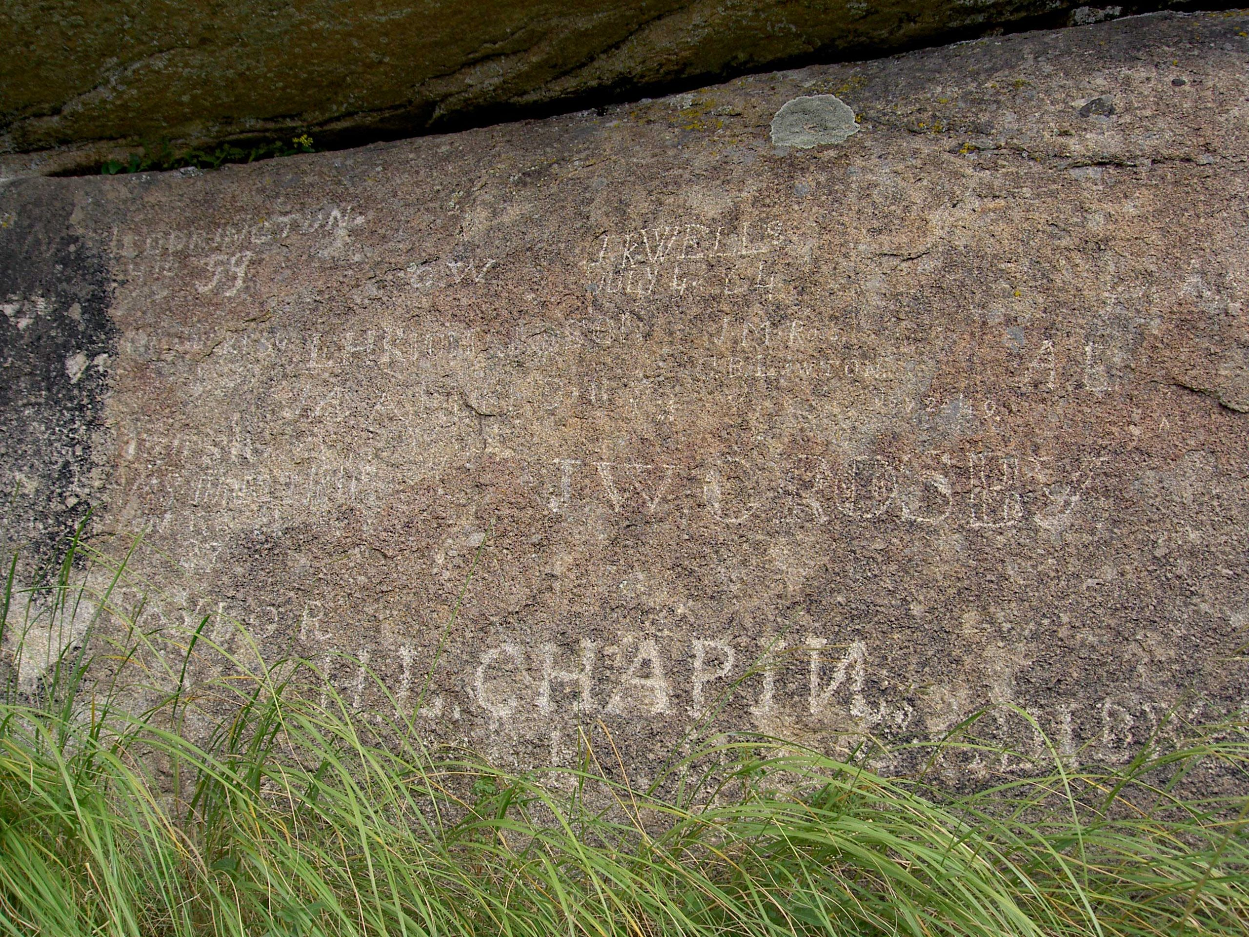 Names carved into Independence Rock
